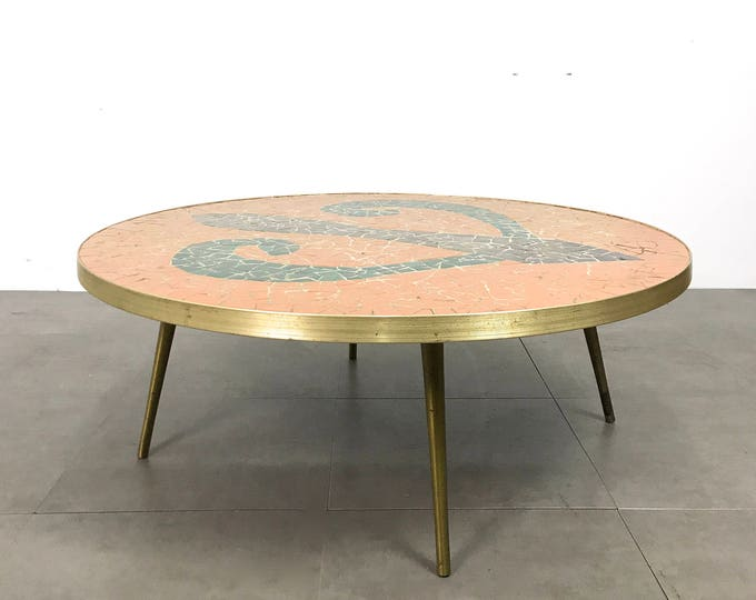 Vintage Italian Modern Round Mosaic Tile Coffee Table 1950's