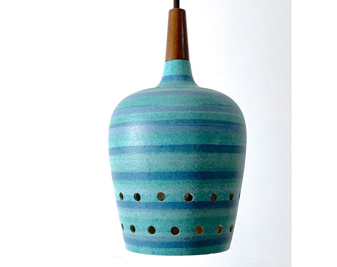 Turqoise Striped Ceramic Pendant Lamp 1960's