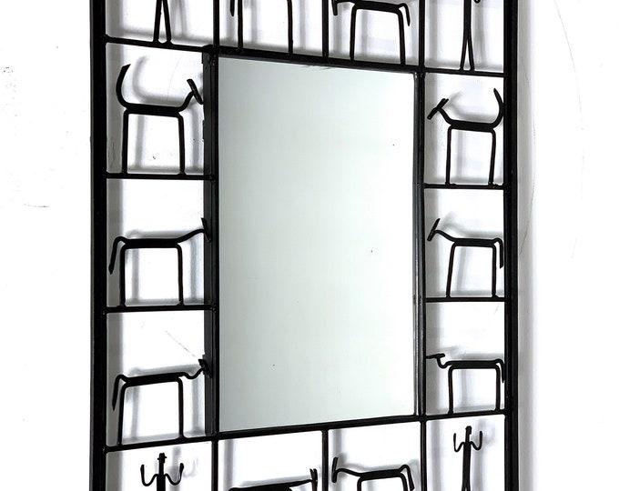 Vintage Frederic Weinberg Style Iron Mirror 1950's