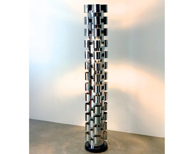 Curtis Jere Chrome Skyscraper Floor Lamp 1970's