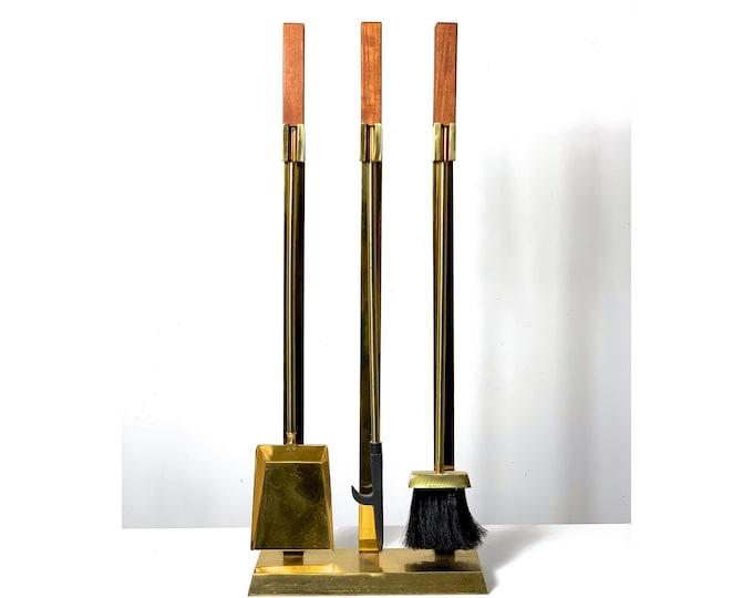 Vintage Modernist Brass Teak Fireplace Tool Set 1970's