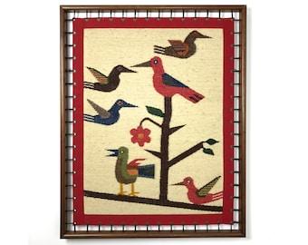 Vintage Modernist Woven Bird Framed Fiber Wall Art 1970's