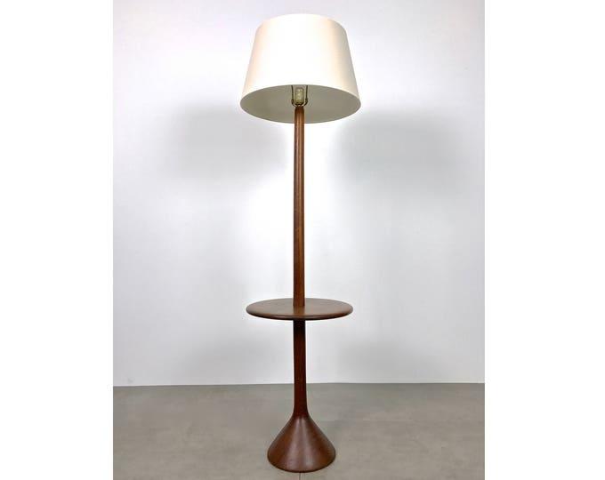 Scandinavian Teak Floor Lamp w/ Table 1960's