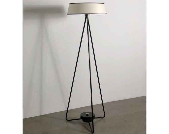 Vintage Iron Hairpin Floor Lamp attributed to Kurt Versen 1950's