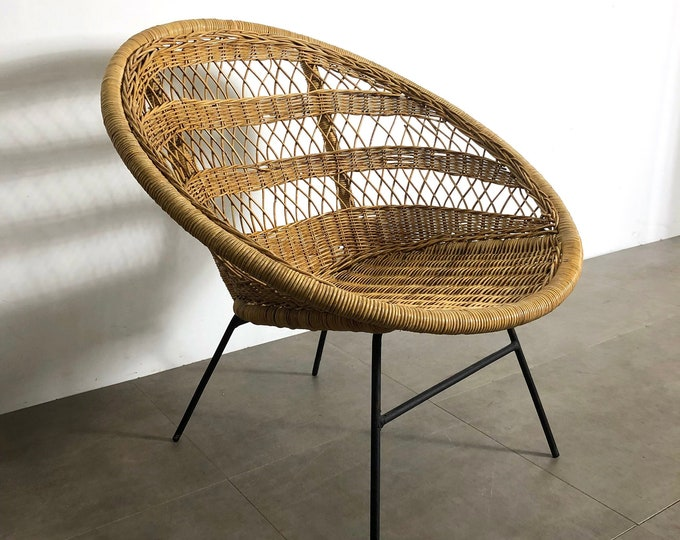 Vintage Wicker & Iron Hoop Lounge Chair 1950's