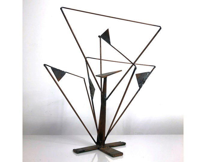 Abstract Geometric Wire Sculpture Signed, 1970's