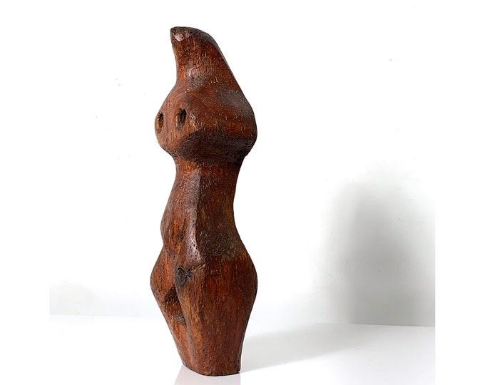 "16"" Modernist Carved Wood Nude Female Sculpture 1970's"