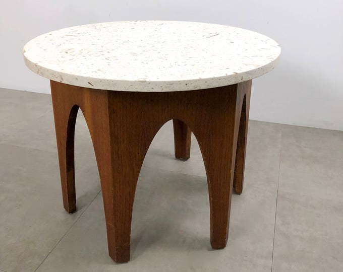 Walnut & Travertine Side Table Attributed to Harvey Probber 1960's
