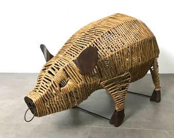 Unique Vintage Woven Pig Sculpture, Mexico 1970's