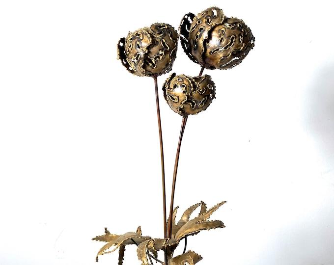 Vintage Brutalist Brass Flower Sculpture 1960's