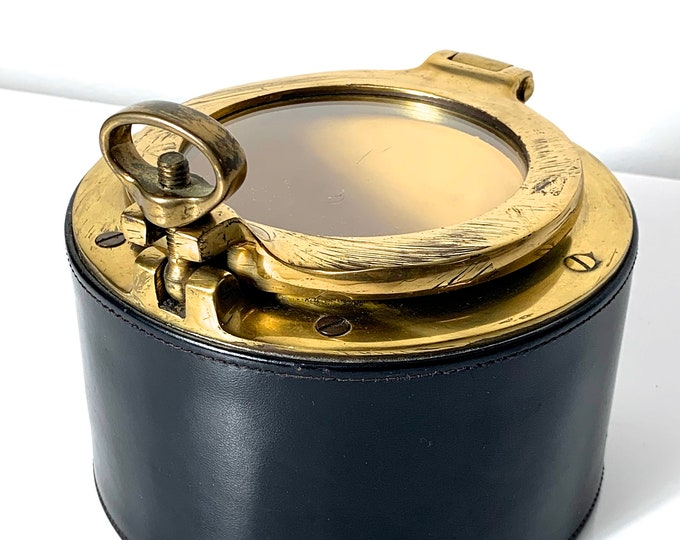 Vintage Dunhill Leather & Brass Porthole Humidor 1960's