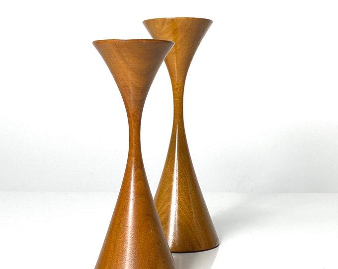 Vintage Pair Rude Osolnik Hourglass Candlesticks 1970s