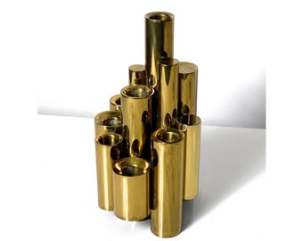 Gio Ponti Style Brass Tubular Candle Holder 1950s