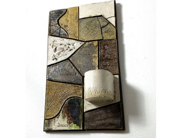 Mid Century Signed Modernist Ceramic Mosaic Wall Hanging 1970s