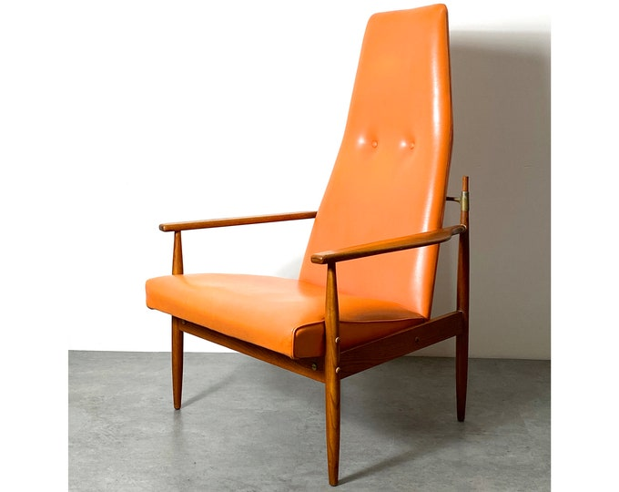 Vintage Selrite Furniture Orange Tall Back Lounge Chair 1960s