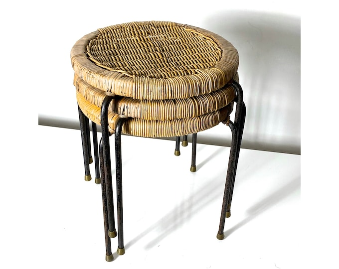 Set of Three Wicker Iron Stacking Tables or Stools 1950s