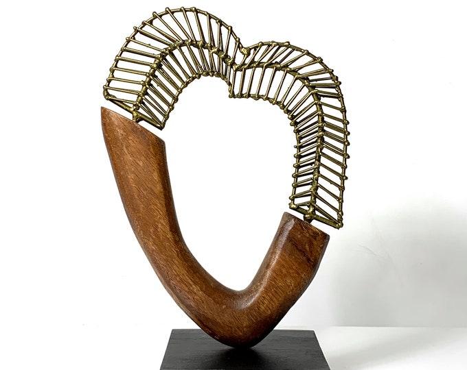 Vintage Brutalist Brass & Wood Heart Sculpture 1970's