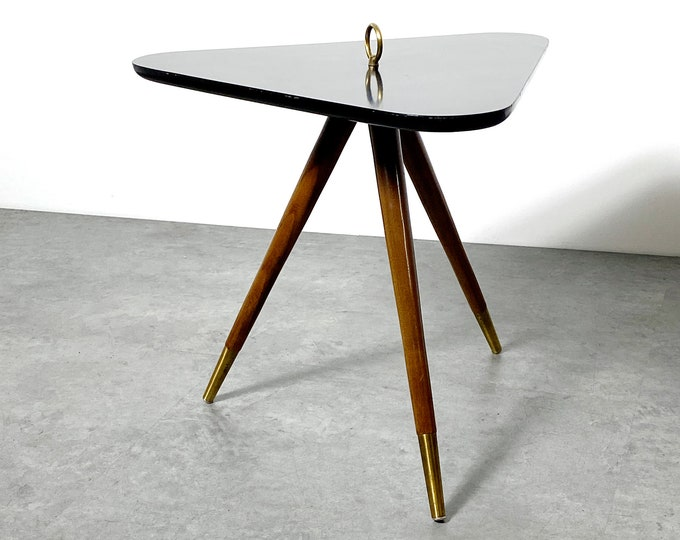 Rare Vintage Triangle Tripod Side Table Walnut and Brass 1950's