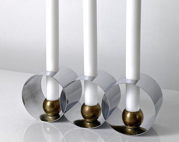 Helen Dryden Chrome Brass Three Ring Candle Holder 1930s