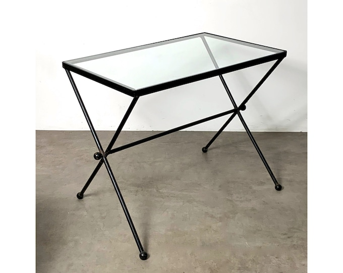 1950's French Rectangular Iron & Glass X Table