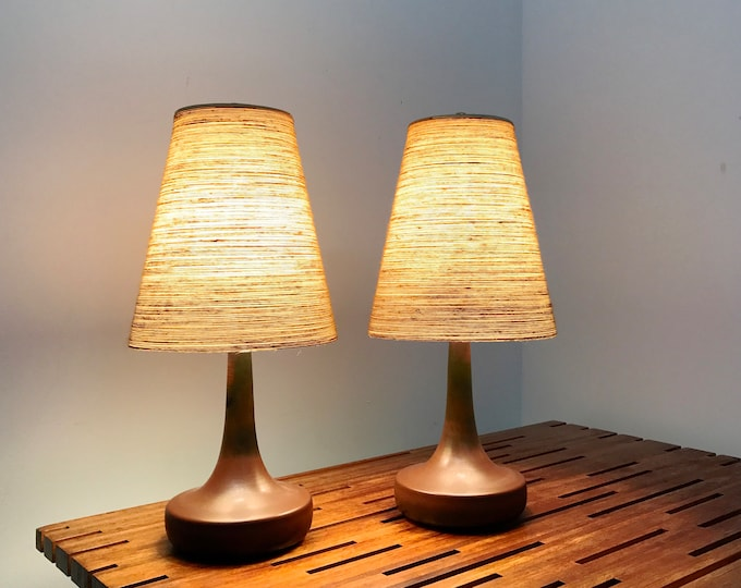 Early Pair Lotte & Gunnar Bostlund Ceramic Table Lamps 1960's