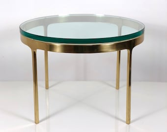 Nicos Zographos Brass & Glass Side Table, 1970's