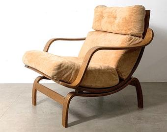 Sculptural Bentwood Oak Lounge Chair 1970's