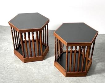 Pair Rare Arthur Umanoff Hexagon Spindle Side Tables 1960s