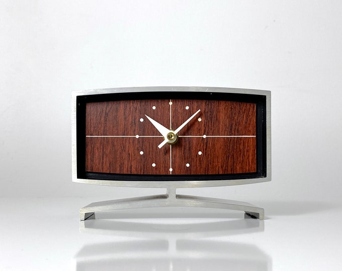 Rare Peter Pepper Products Rosewood Desk Clock 1960s