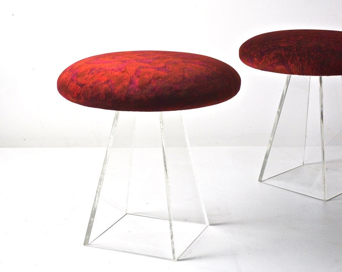 Pair of Vladimir Kagan Lucite Stools With Jack Lenor Larsen Velvet 1960s