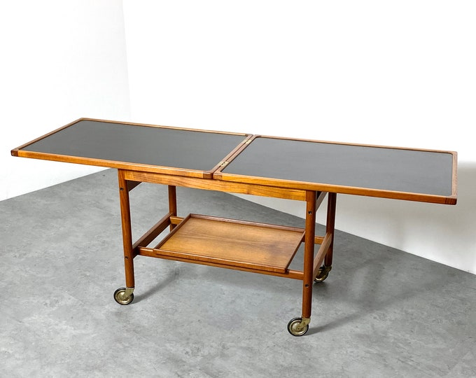 Kurt Ostervig Flip Top Teak Expanding Serving Cart 1960s