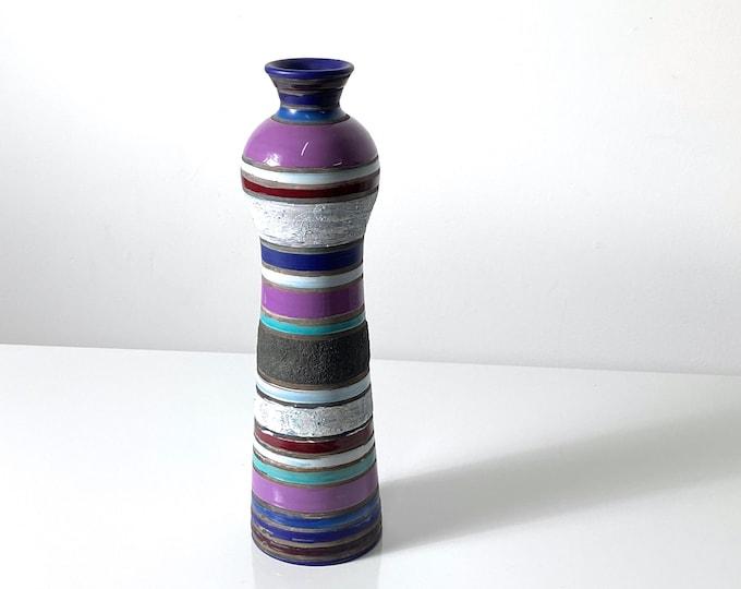Rare Aldo Londi Bitossi Cambogia Striped Vase 1950s