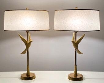 Pair Vintage Mid Century Rembrandt Brass Dove Table Lamps 1950s