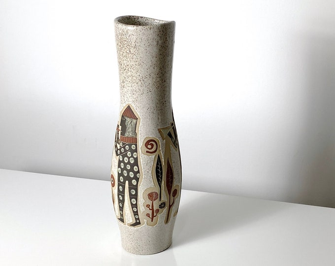"""16"""" Tall Signed Arganat Patterned Ceramic Vase 1960s"""