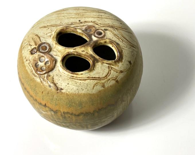Unique Signed Studio Pottery Weed Pot Vessel 1960s