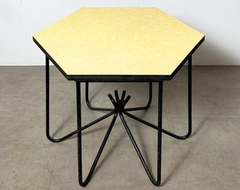 Iron Hexagon Occasional Table in the Style of Jean Royere 1950's