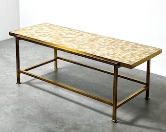 Edward Wormley Dunbar Glass Tile Mosaic Brass Coffee Table 1950s