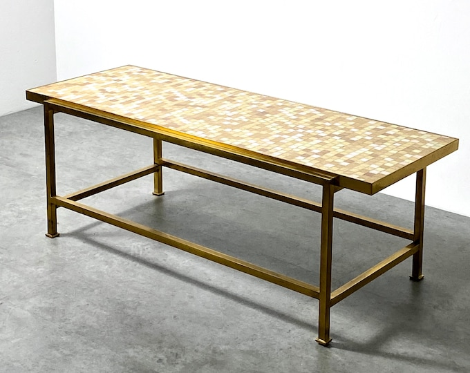 Edward Wormley Dunbar Glass Tile Mosaic Brass Coffee Table 1950s