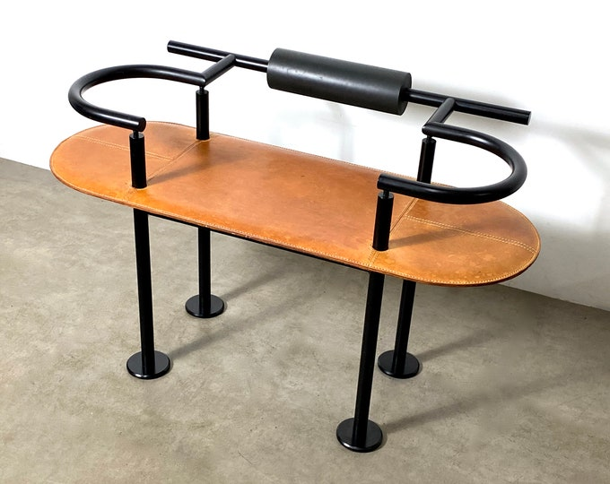 Memphis Style Leather Bench by Cy Mann 1980s