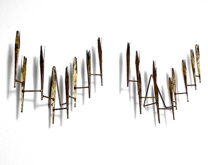 Stephen Burr Studio Art Brass Wall Hanging Candle Sconces 1960s