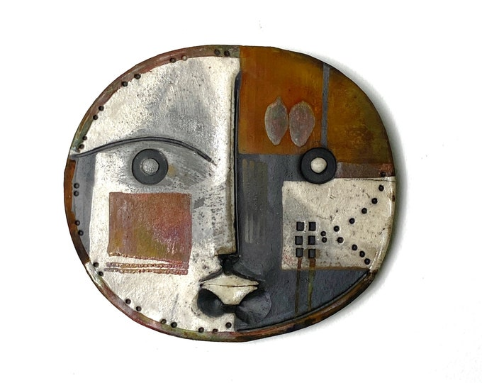 Vintage Signed Doug DeLind Modernist Ceramic Art Face Wall Sculpture 1970s