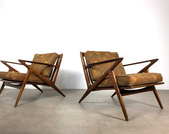 Vintage Pair of Poul Jensen Z Chairs for Selig 1950's
