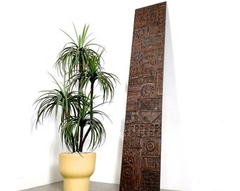 """94"""" Vintage Ackerman Style Carved Wood Relief Wall Panel 1960s"""