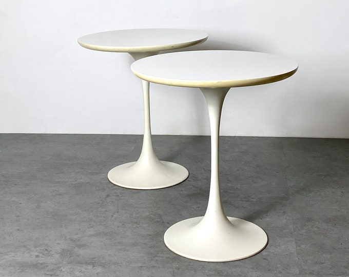 Pair of Maurice Burke Round Tulip Side Tables 1960s