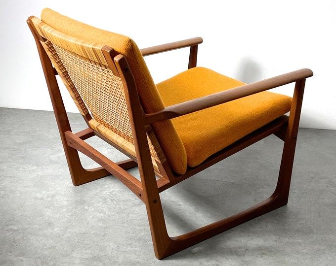 Hans Olsen Juul Kristiansen Teak Cane Lounge Chair