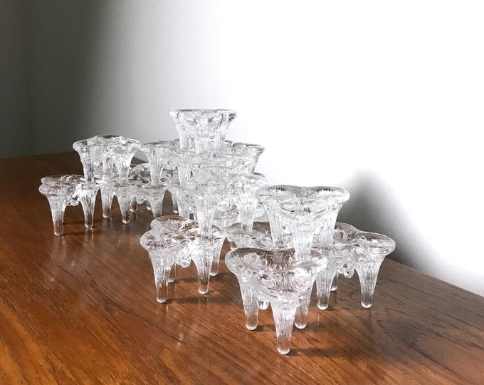 Rare 20 pc Goran Warff Ice Glass Stacking Candle Holders c1970's
