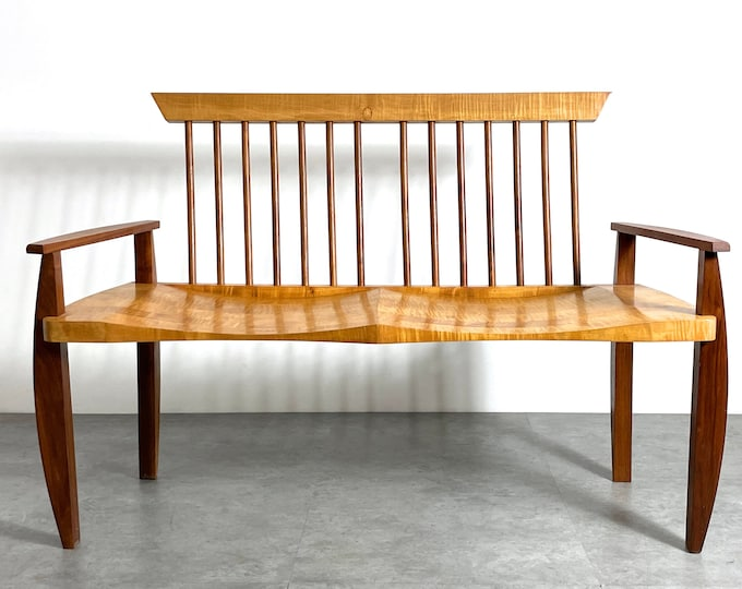 American Studio Craft Spindle Back Bench 1980s