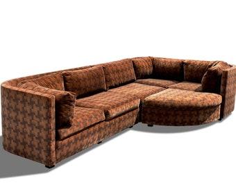 Vintage Milo Baughman Style Velvet Sectional Sofa 1970s