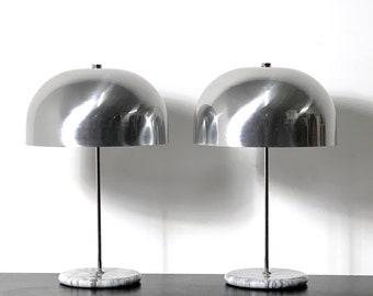 Pair of 1970's Marble Base Mushroom Table Lamps