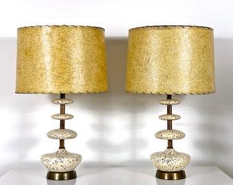 Pair Vintage Mid Century Ceramic & Brass Table Lamps 1950's